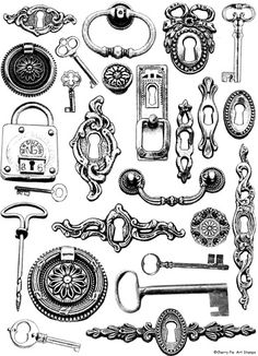 lock and key tattoo's are so cute! Stencils, Etiquette Vintage, Images Vintage, Diy Papier, Digi Stamps, Collage Sheet, Retro, Coloring Pages, Creations
