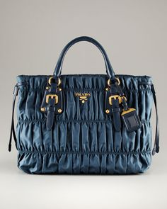 Prada - Large Double Handle Ruched Open Nylon Tote
