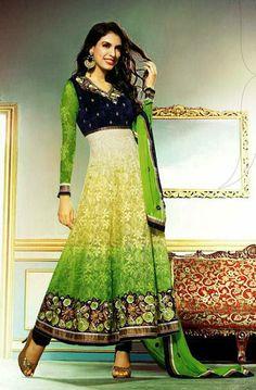 USD 93.92 Green Jacquard Chikan Work Anarkali Style Salwar Kameez 27710