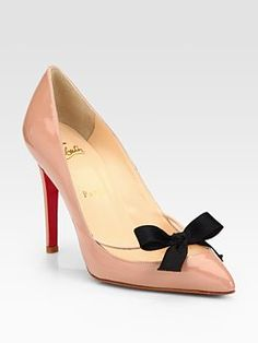 These shoes look fabulous on me!  Size 38.  Christian Louboutin  Patent Leather Bow Pumps  $895.00