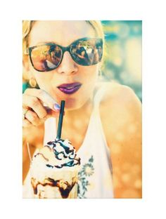 Canvas Print - Pop Art style photo wall art featuring a beautiful young blonde woman wearing sunglasses and enjoying a hot fudge sundae or milkshake on a warm sunny summer day.  Unique home decor or gift for someone who likes this cool sweet dessert treat - female portrait photography, ice cream cones - This is an affiliate link.