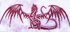 A striking design of a dragon in bold outline.