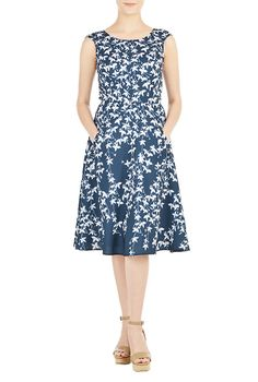 I <3 this Leaf print fit-and-flare crepe dress from eShakti