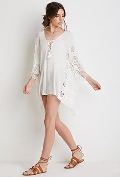 Top Style Poncho à Crochet   Forever21 - 2002247236