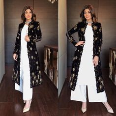Shilpa Shetty Looked Like A Dream in Palazzo Suits – Lady India Pakistani Dresses Casual, Indian Gowns Dresses, Pakistani Dress Design, Kurti Neck Designs, Kurta Designs Women, Kurti Designs Party Wear, Indian Attire, Indian Outfits, Indian Designer Outfits