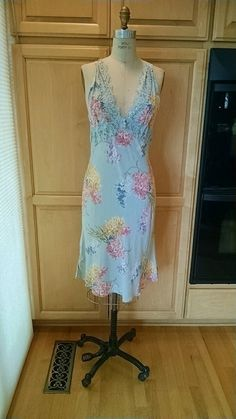 676c224ac07 Pretty blue floral bias dress with lace Dress Clothes For Women
