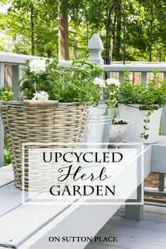 DIY Container Herb Garden Ideas | Inspiration for planting herbs in containers. Patios, decks and porches can easily become your very own herb garden!