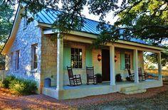 Fredericksburg Cottage (TX Hill Country) Native Texas limestone & metal roof with porch. Texas Farmhouse, Farmhouse Plans, Building Design, Building A House, Hill Country Homes, Cottage Style Decor, Cottage Homes, Cottage Living, Home Fashion