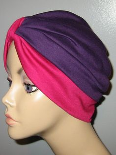 2Tone Purple and Rose  Knit Turban Chemo Hat Snood by CJHats, $11.00