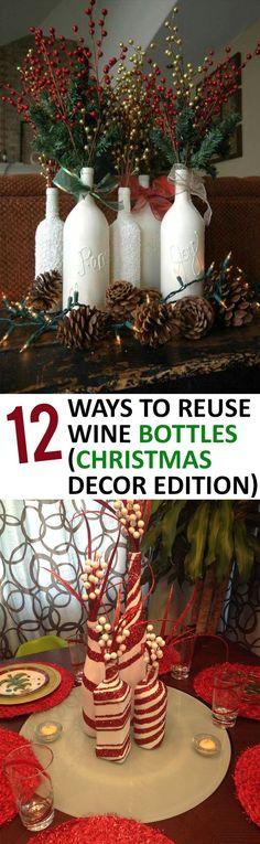 12 Ways to Reuse Wine Bottles (Christmas Decor Edition) Diy Wine Bottle Crafts diy holiday wine bottle crafts Reuse Wine Bottles, Wine Bottle Crafts, Bottle Bottle, Rustic Christmas, Christmas Holidays, Christmas Decorations, Christmas Things, Wedding Decorations, Christmas Lights