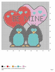 PENGUINS BE MINE by HOPE BAER & DARLINE POTTER -- VALENTINE'S DAY WALL HANGING