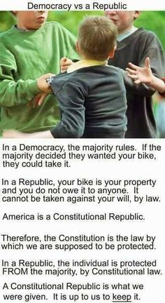 America: A republic, NOT a democracy! Learn the difference! #tcot #ccot #TeaParty