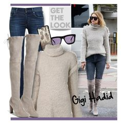 """""""Get The Look: Gigi Hadid"""" by hamaly ❤ liked on Polyvore featuring Karen Walker, Citizens of Humanity, Vianel, GetTheLook, Sweater, suedeboots, waystowear and gigihadid"""