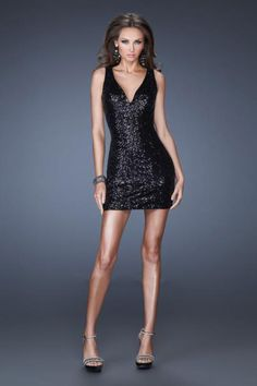2014 Shiny New Arrival Homecoming Dresses Sheath Short/Mini Halter Black