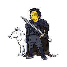 Jon Snow and his wolf as Simpsons characters - CNET via @CNET
