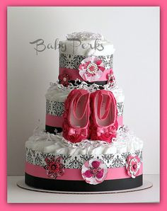 Hot Pink and Black Diaper Cake, Damask Baby Shower , Pink and Black Diaper Cake, Baby Shower Decorations. $62.00, via Etsy.