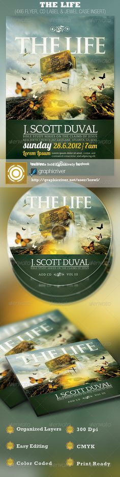 The Life Church FlThe Life, Church Flyer and CD Label Template is sold exclusively on graphicriver, it can be used for your Bible Studies, Sermons, Audio Books, Gospel Albums, etc. In this package you'll find 3 Photoshop files. All text and graphics in the files are editable, color coded and simple to edit. The file also has 5 one-click color options.  - Price: $7.00