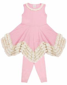 Lemon Loves Lime Girls Gardenia Dress Set with Leggings - Rose Shadow Pink