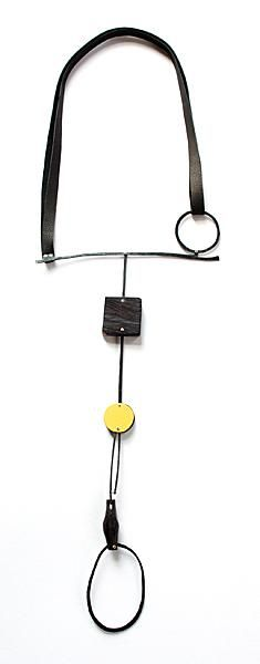 Réka Fekete - Balance I - 2013 - pendant steel, African blackwood, laminate, leather, silver