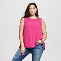 Women's Plus Size Perfect Layering Shell Tulip Pink 1X - Ava & Viv