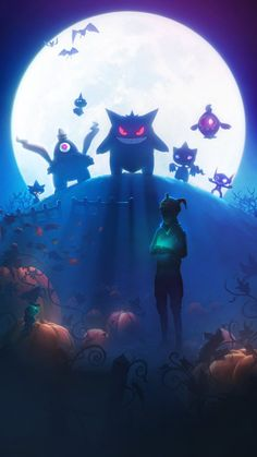 """""""Halloween 2017 loading screen from Pokemon GO. Not only is this the first time Hoenn Pokemon appeared in the game, but with the Mimikyu hat accessory, it is also the first appearance of an Alolan Pokemon. Pokemon Gengar, Gif Pokemon, Pokemon Images, Pokemon Fan Art, Pokemon Pictures, Bulbasaur, Charizard, Pokemon Backgrounds, Cool Pokemon Wallpapers"""