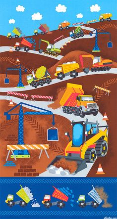 Find a Fabric - Dig It Dump Cement Truck Excavator Crane Construction Boys Quilt Fabric Panel Crane Construction, Construction Images, Construction Business, Construction Birthday, Timeless Treasures Fabric, Modes4u, Novelty Fabric, Boy Quilts, Panel Quilts