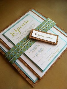 Like the use of cork on this design. I looked at their website/pricing but couldn't figure out what was $7?  Modern Wedding Invitation by KLynxDesigns on Etsy, $7.00