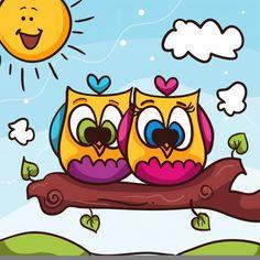 Valentine Drawing, Valentine Cartoon, Owl Cartoon, Cartoon Drawings, Cute Drawings, Owl Canvas, Canvas Prints, Easy Cartoon Characters, San Valentin Vector