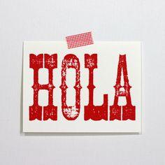 mudroom art wall!    spanish notes. hola. $8.00, via Etsy.