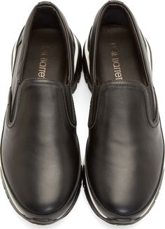Neil Barrett Black Leather Slip-On Sneakers