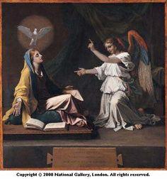 プッサン 受胎告知  Nicolas Poussin. Title: The Annunciation. 製作年: 1657. 収蔵: ナショナル・ギャラリー (ロンドン)