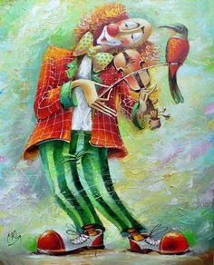 clown art | The symbol of the circus – clowns – paintings by Yuri Matsik