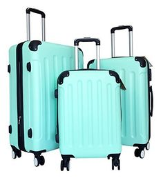 3Pc Luggage Set Hardside Rolling 4Wheel Spinner CarryOn Travel Case ABS Mint