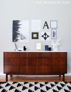 Mid Century Credenza makeover and crazy cool black and white art.
