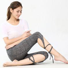 Yoga Tights Leggings Pants Ballet Spirit Bandage Cross-line Quick Dry Elastic Waist Sportswear For Fitness Dance Sports Trousers
