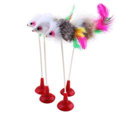 Hot 1 stücke Lustige Haustier Katze Spielzeug Feder Falsche Maus Boden Sauger katze Kätzchen Spielen Spielzeug Pet Sitz Scratch Spielzeug 20 cm Kostenloser versand