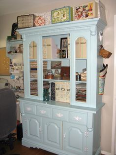 Repurposed China Cabinet For Sewing Room Storage