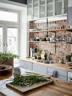 Deconstructed kitchen | Open shelving | Exposed brickwork | Plenty of natural light #wishtankworthy