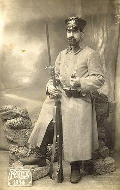 World War I German Landsturm Soldier in Namur, Belgium 1914.