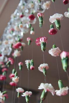 Cascading chandelier flower garland DIY.