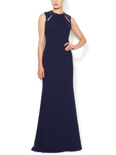 Beaded Cut-Out Gown by Badgley Mischka Collection at Gilt