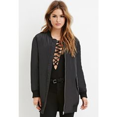 Forever 21 Women's  Longline Bomber Jacket ($40) ❤ liked on Polyvore featuring outerwear, jackets, blouson jacket, forever 21, flight jacket, bomber jacket and forever 21 jacket