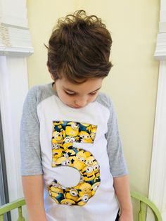 34fdf6373 Items similar to Custom Minion number or initial t'shirt SAMPLE SALE on Etsy