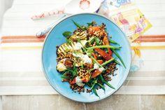 Lentils, grilled veggies and ricotta feta salad Lentil Recipes, Vegetable Recipes, Salad Recipes, Vegetarian Recipes, Healthy Recipes, Meat Recipes, Yummy Recipes, Lentil Salad, Feta Salad