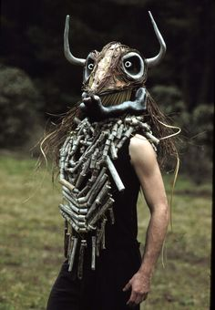 """sacred-theater:  Minotaur Mask by Dean Bareham (paper mache mask constructed of """"found"""" materials)"""