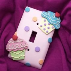 Cupcake Light Switch Cover or Outlet Cover - Pink, Turquoise, Green - Cupcake Themed Room - Childrens Cupcake Nursery Decor - Polymer Clay