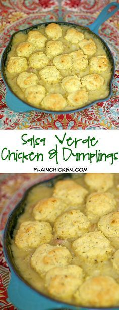 Salsa Verde Chicken & Dumplings - chicken in a creamy salsa verde sauce topped with cornbread dumplings and baked. Great Mexican recipe that is ready in about 20 minutes! Quick recipe for weeknight meals! SO good! I wanted to lick my plate!!