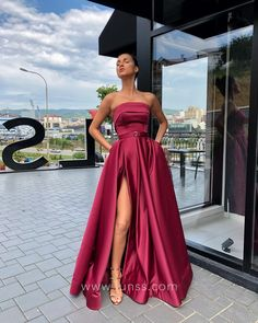 b180e170eb Chic Magenta Satin Strapless A-line Long Prom Dress with High Slit