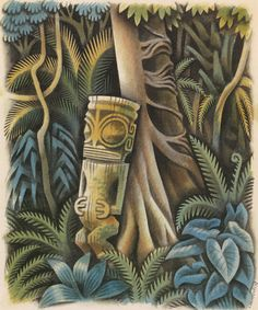 """MIGUEL COVARRUBIAS: One of his illustrations from Melville's """"Typee"""", 1935."""