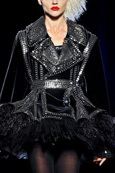 Jean Paul Gaultier at Couture Fall 2011 uses inspiration form the punk ethnic style with a fully black and Farly short garment Couture Fashion, Fashion Art, Love Fashion, Runway Fashion, High Fashion, Womens Fashion, Fashion Design, Fashion Trends, Fashion Photo